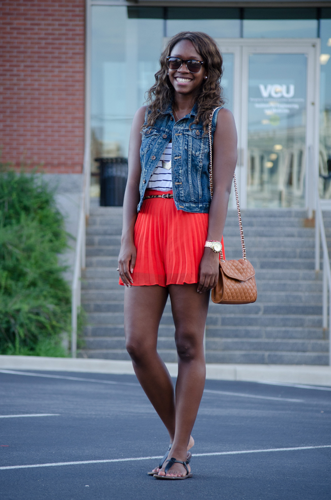 pleated shorts, BCBG shorts, striped tank, dc blogger, dc fashion blogger, madewell denim vest, madewell chevron necklace, sam edelman gigi sandals, rebecca minkoff quilted bag, rva, dc style