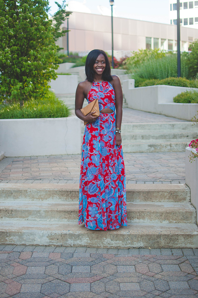 asos paisley maxi, dressometry, paisley maxi, cut out maxi, 4th of july outfit