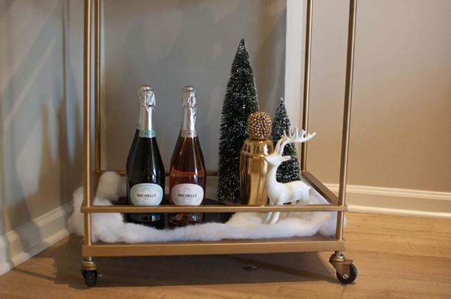 winter bar cart, holiday bar cart, minted art
