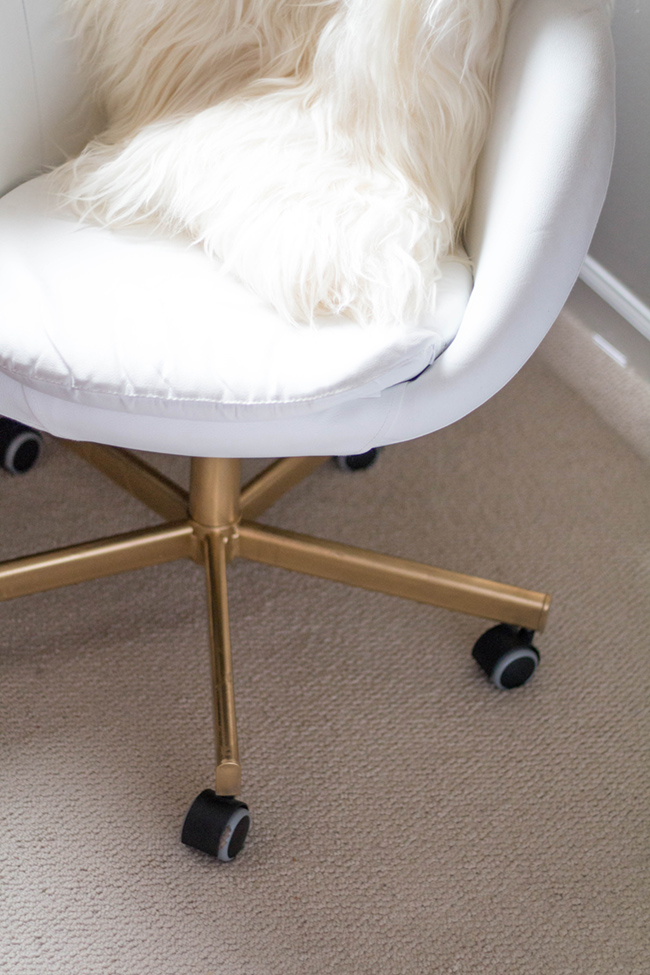 gold white office chair