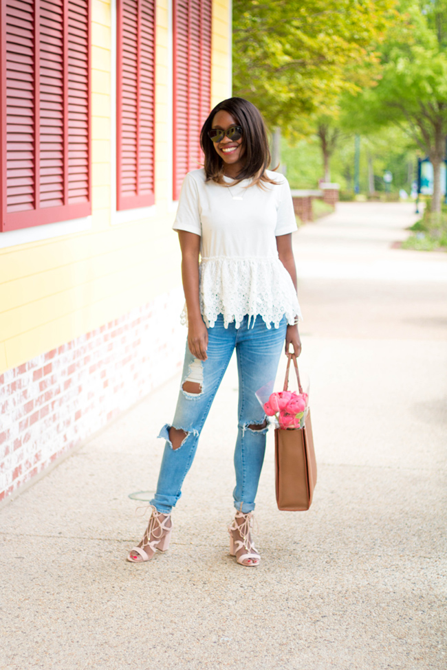 endless rose lace peplum top, blank destroyed denim, loft lace up heels, dc blogger