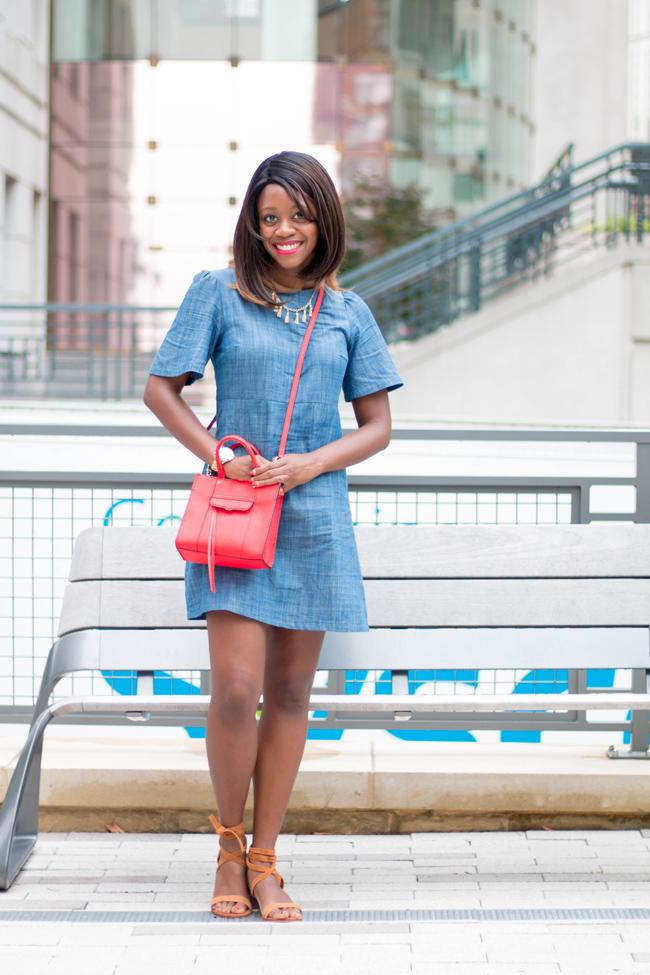 dc blogger, arlington va fashion blog, chambray dress, lace up sandals
