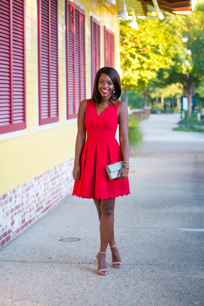 D.C. Blogger Alicia Tenise in the Banana Republic Red Scalloped Pocket Dress