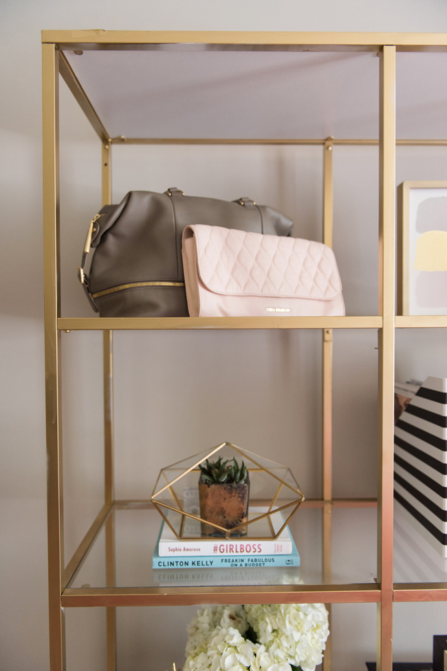 bookcase styling, diy gold boocase, vera bradley leather clutch, succulent styling