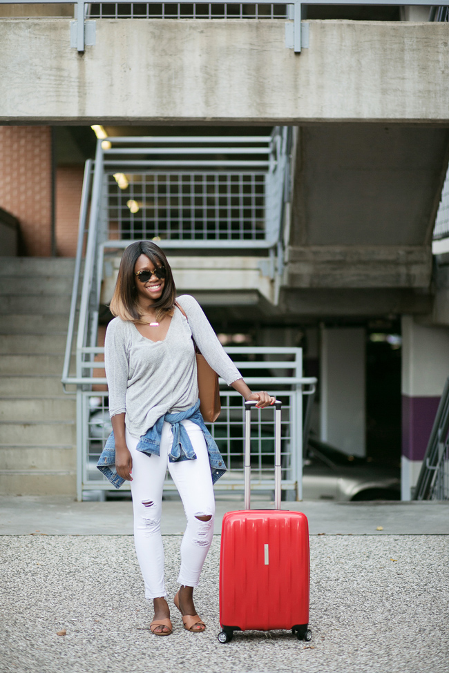 airport style, travel outfit ideas, red suitcases