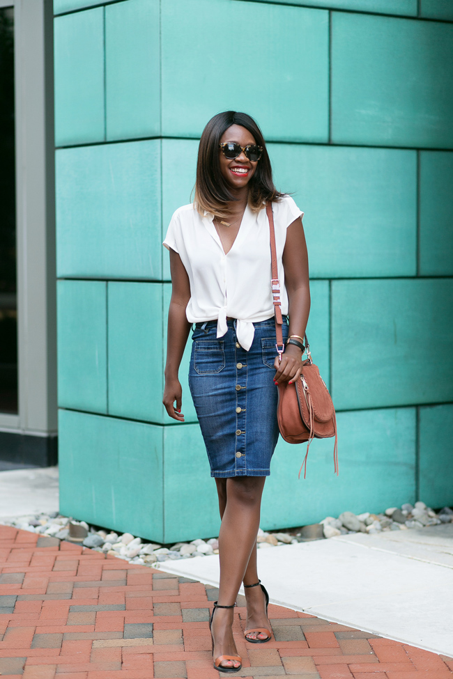the limited button front denim, denim pencil skirt, dc blogger