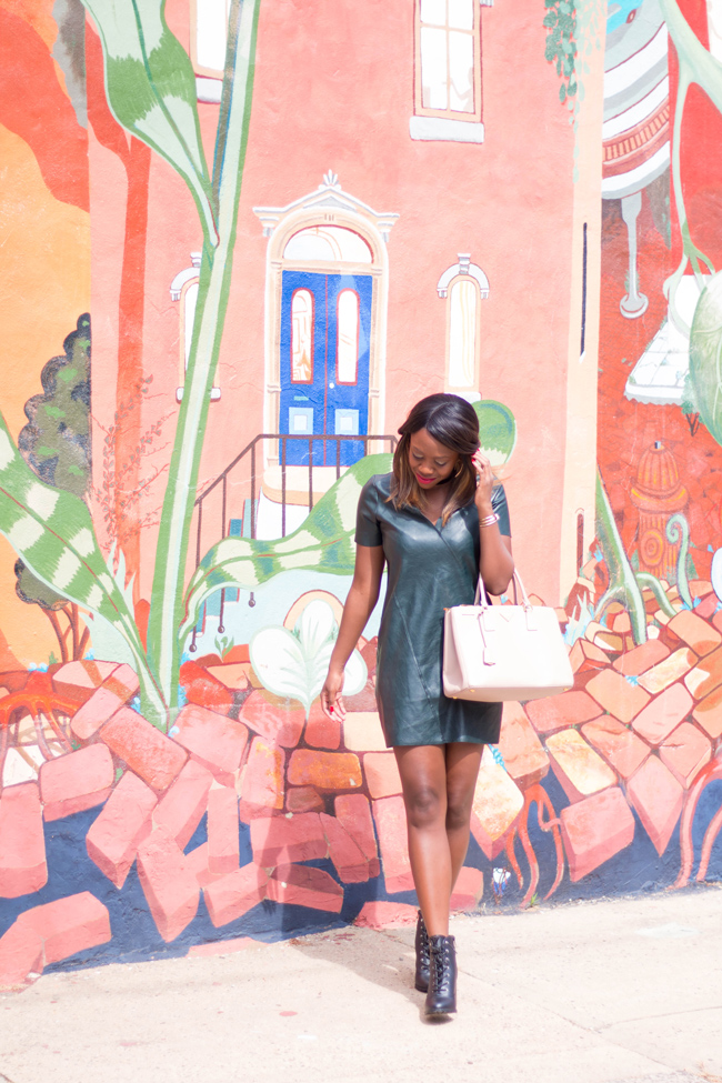 D.C blogger Alicia Tenise styles a green leather dress from Zara and the Payless WOMEN'S PRIMM LACE-UP ANKLE BOOT