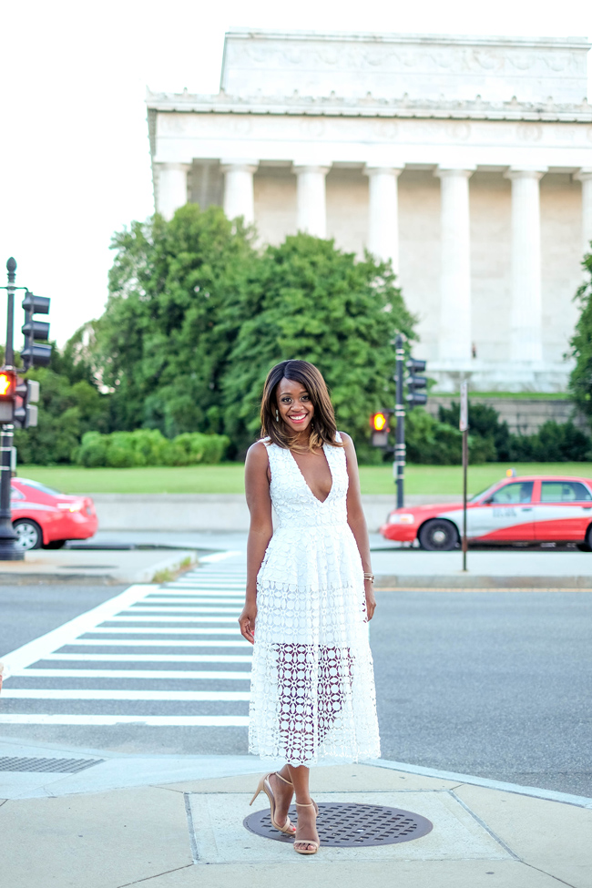 D.C. Blogger Alicia Tenise in the Nicholas Tiered Lace Dress from Rent the Runway