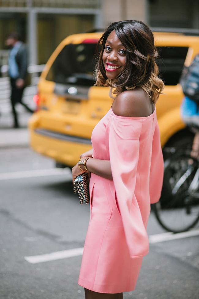 D.C. fashion blogger Alicia Tenise styles the KAUFMANFRANCO Pink Number Six Shift from Rent the Runway for NYFW