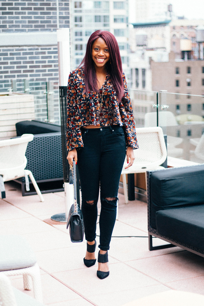 D.C. blogger Alicia Tenise styles the Topshop Devore Plunge Swing Top, Citizens of Humanity Rocket Distressed High Rise Jeans