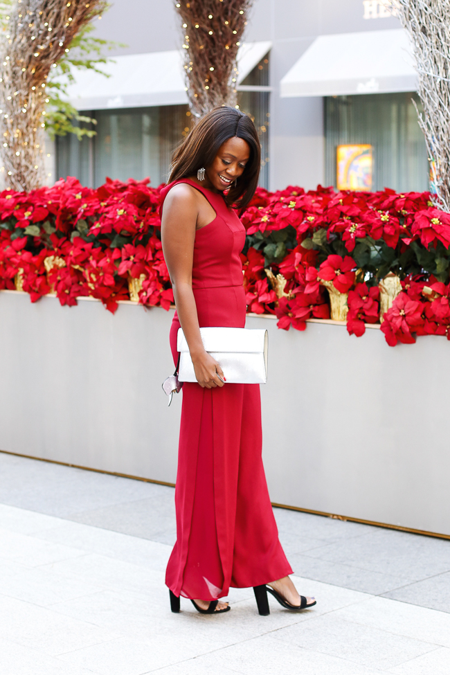 d177f698bd0 D.C. blogger Alicia Tenise styles the Halston Heritage Garnet Jumpsuit from  Rent the Runway