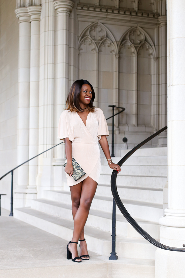 D.C. blogger Alicia Tenise styles the Missguided Gold Plunge Wrap Front Dress