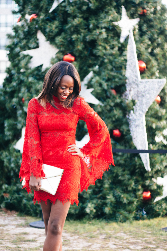 D.C. Blogger Alicia Tenise styles the Minkpink Drama Queen Lace Dress in Red and Rebecca Minkoff Metallic Champagne Leo Clutch
