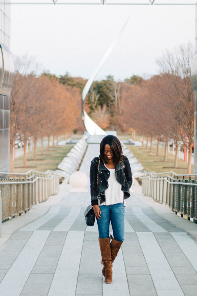 D.C. blogger Alicia Tenise styles the Free People Malibu Top and Vince Camuto Melaya Over the Knee Boots