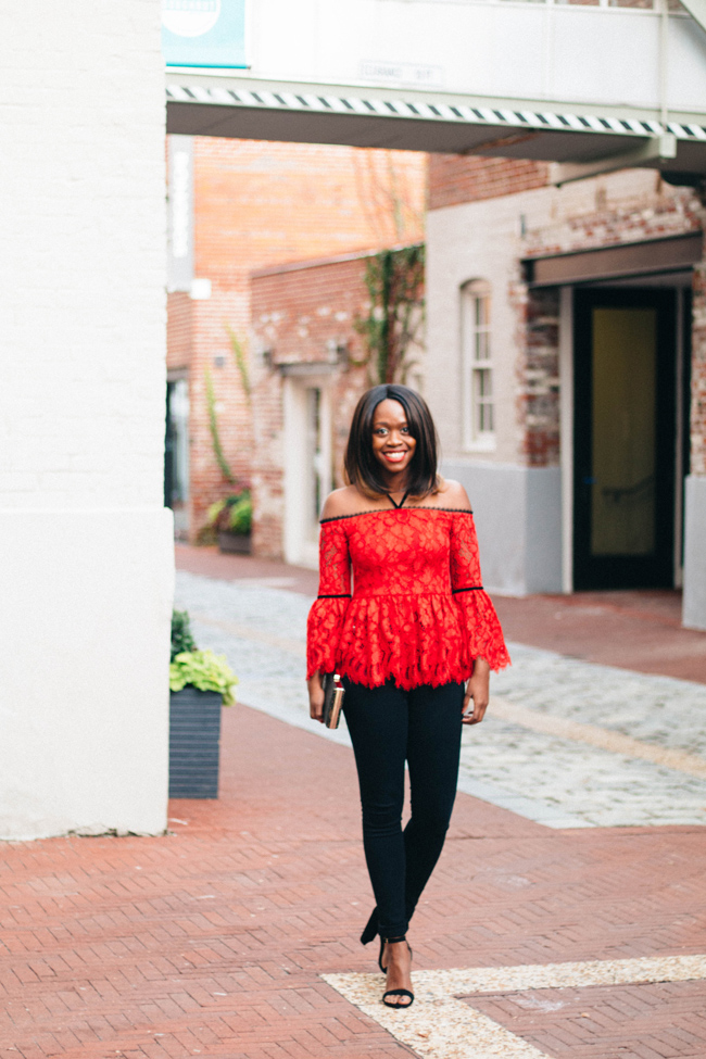 D.C. blogger Alicia Tenise styles the Alexis Red Grace Top from Rent the Runway