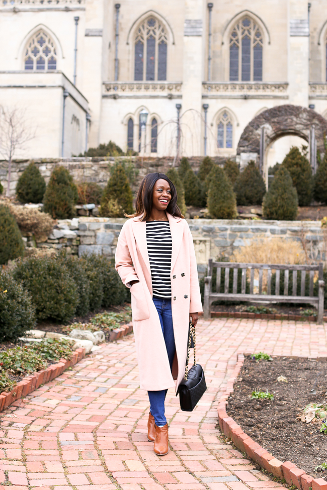 D.C. blogger Alicia Tenise styles the Topshop Longline Slouch Coat in Blush J.Crew Striped Tulle T-Shirt Madewell Skinny Jeans and Frye Booties