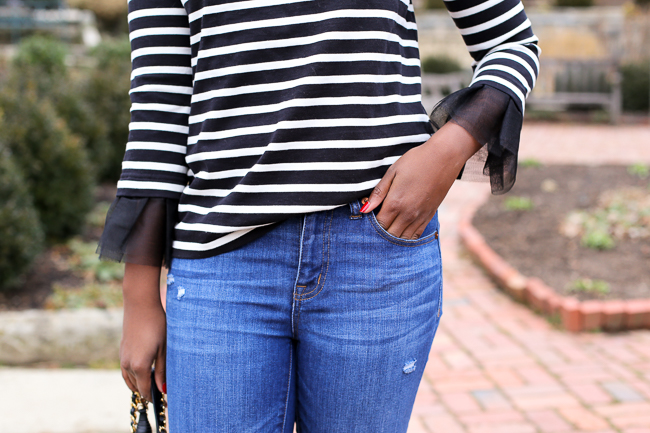 Tulle Sleeve Stripe Top