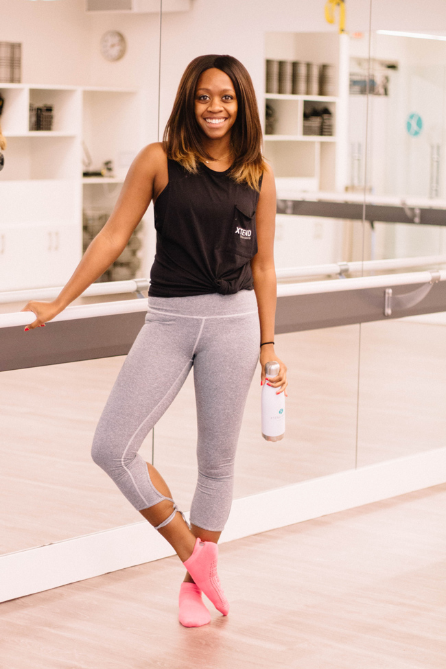 D.C. blogger Alicia Tenise styles an affordable workout ensemble at Xtend Barre Arlington