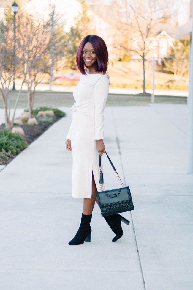 D.C. blogger Alicia Tenise styles the Knot on Fashion's Door Off-shoulder Dress in Cream and Vince Camuto Sendra Bootie