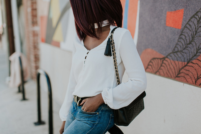 White Cutout Blouse
