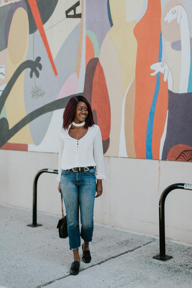 Cropped Flare Denim with Frayed Hem, Top D.C. Fashion Blog
