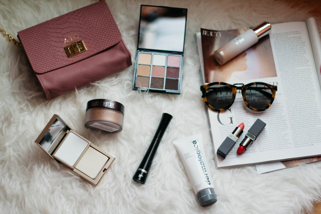 IT Cosmetics Superhero Mascara, Clarins Pore Perfecting Matifying Kit, Le Tint Moisturizing Veil, Trish McEvoy Light & Lift Eye Color Palette, Laura Mercier Velour Lovers Lip Color in Infatuation and Foreplay, Dermalogica Gentle Cream Exfoliant