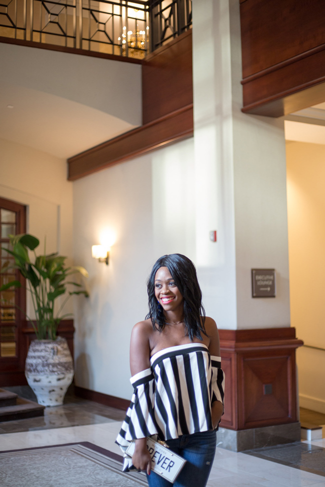 Capital Hilton Lobby, Milly Off The Shoulder Stripe Top