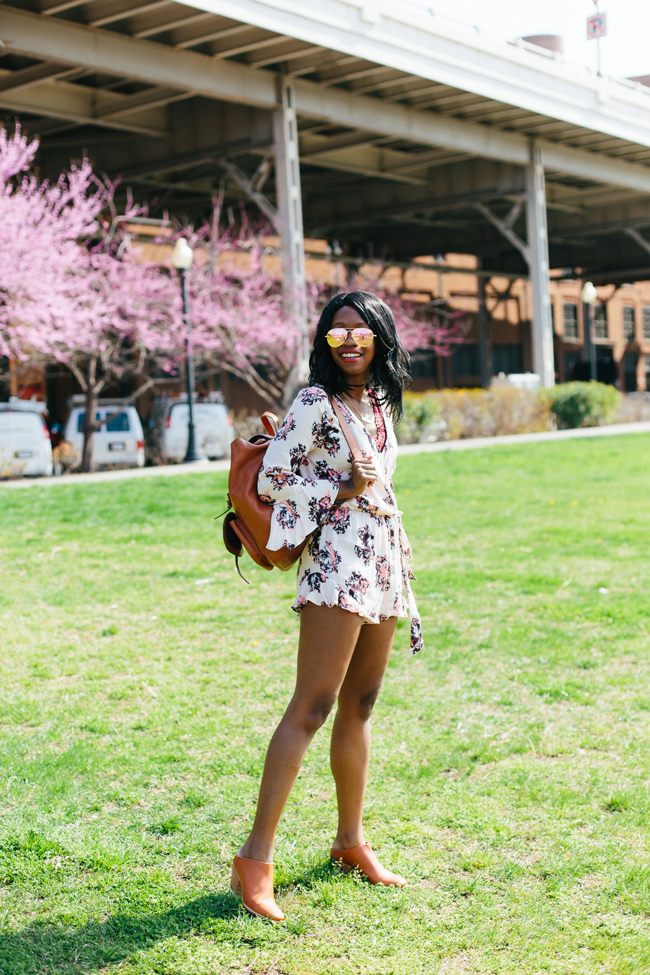 D.C. blogger styles the Altar'd State Falling Leaves Floral Print Romper