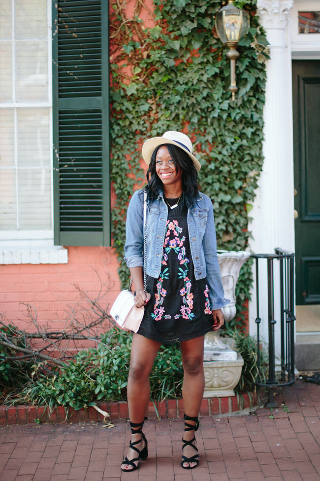 D.C. blogger styles the Free People Perfectly Embroidered Free People Mini Dress, Vince Camuto Straw Panama Hat and Sam Edelman Sheri Suede Block Heels from Lord and Taylor