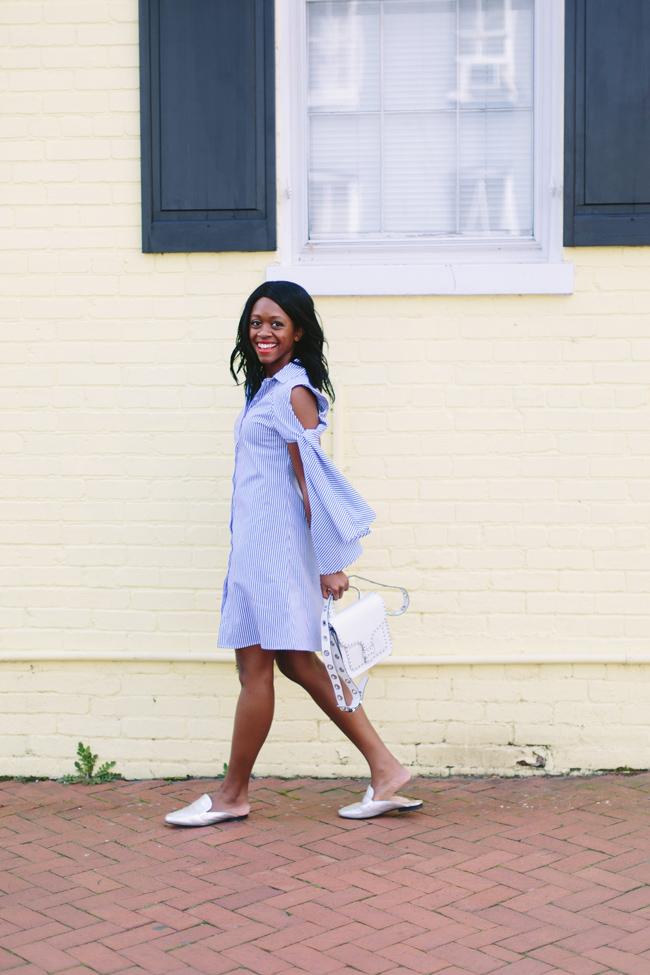 Cold Shoulder Stripe Dress, Rebecca Minkoff Midnighter Top Handle Bag, Silver Mules