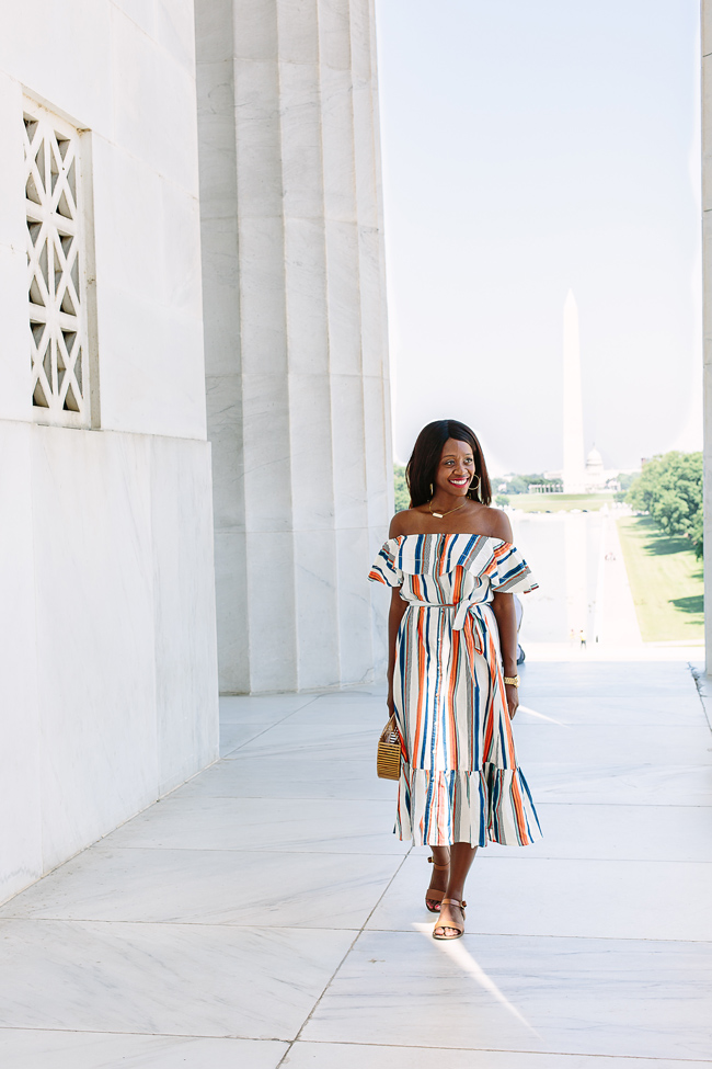 Philadelphia Style Blogger Alicia Tenise wears the Moon River Off Shoulder Dress and Cult Gaia Ark Bag