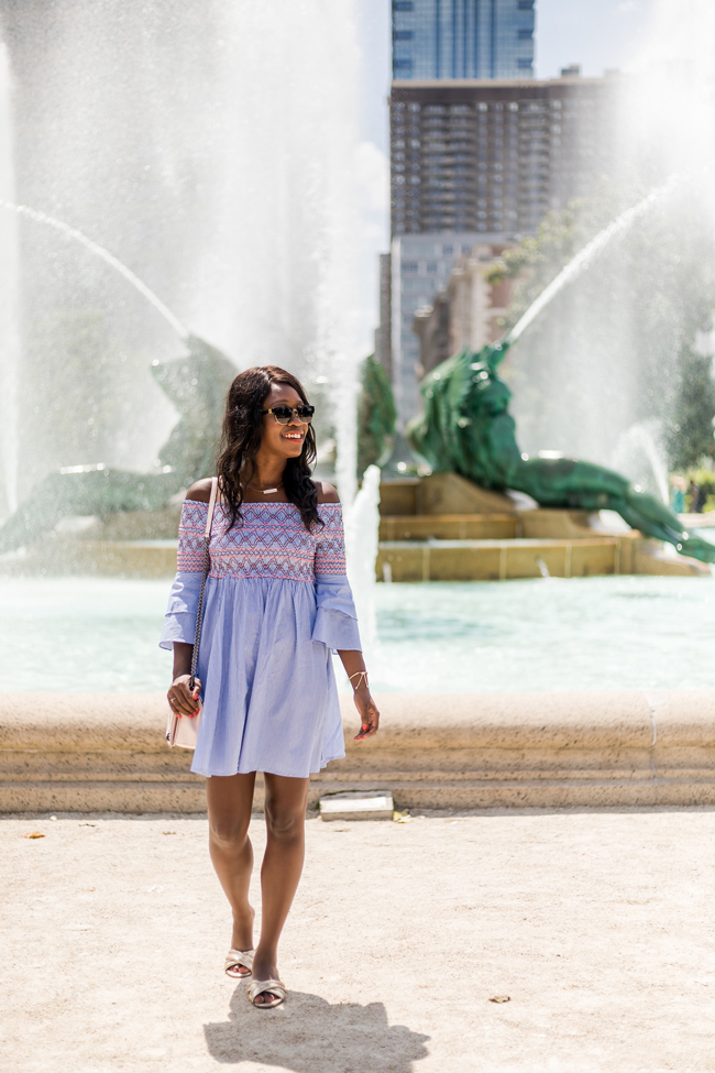 Philadelphia Fashion Blogger, Pinstripe Blue Sundress
