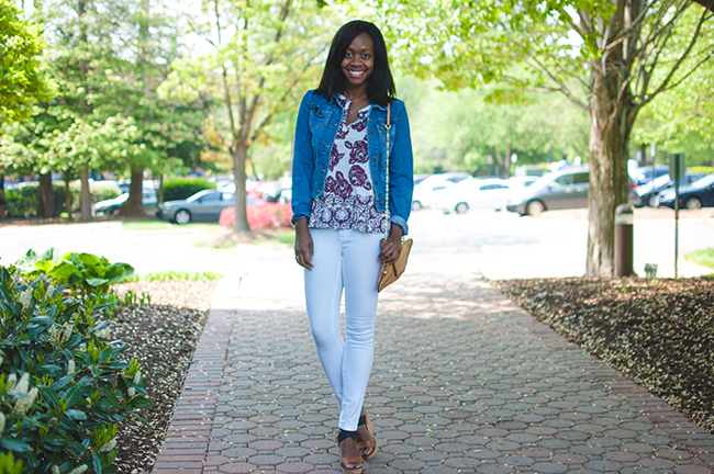 denim jacket, limited jean jacket, white jeans, dc blogger, closet barcode