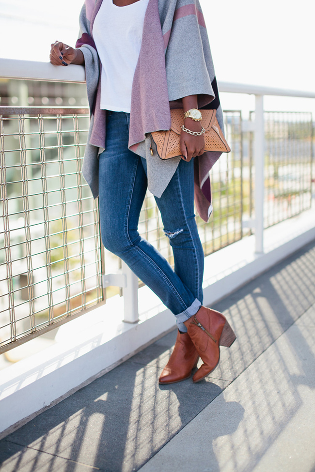 talbots poncho, breast cancer awareness month, frye reina bootie, dc blogger, how to wear a poncho, casual fall date outfit,