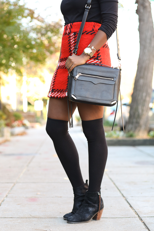 topshop checked skirt, jcrew tissue turtleneck, knee high socks, christmas outfit ideas, dc blogger, northern virginia fashion blog, rebecca minkoff dylan tech