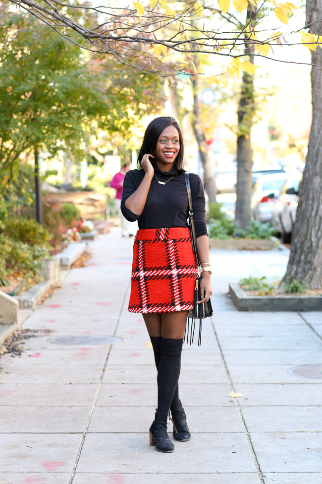 topshop checked skirt, jcrew tissue turtleneck, knee high socks, christmas outfit ideas, dc blogger, northern virginia fashion blog