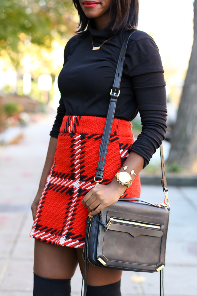 topshop checked skirt, jcrew tissue turtleneck, knee high socks, christmas outfit ideas, dc blogger, northern virginia fashion blog, dylan tech crossbody, michael kors runway watch