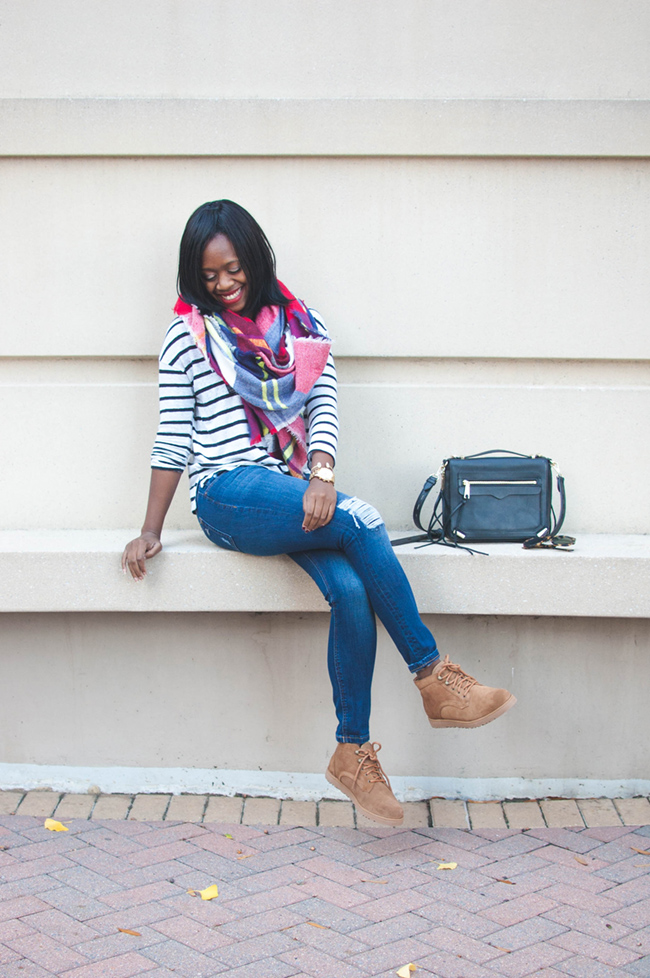 ugg bethany, ugg classic slim, plaid blanket scarf, rebecca minkoff dylan tech crossbody, dl1961 destroyed denim, casual brunch outfit, dc blogger - The Weekend Uniform: UGG Bethany by DC fashion blogger Alicia Tenise
