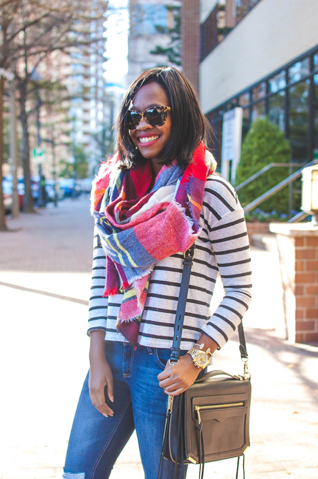 plaid blanket scarf, selima optique sunglasses, dc bloger - The Weekend Uniform: UGG Bethany by DC fashion blogger Alicia Tenise