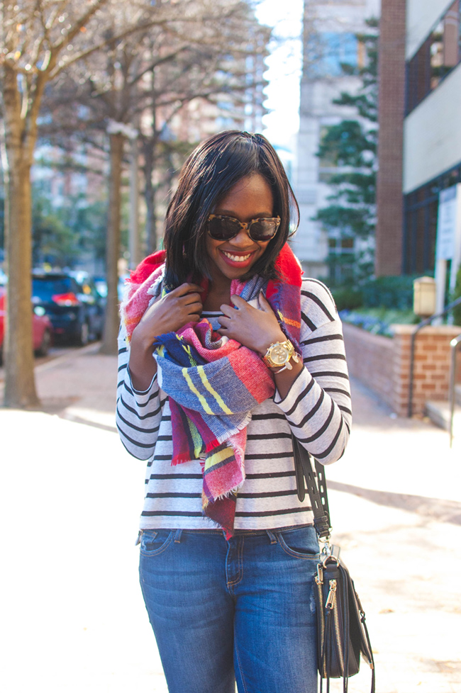 plaid blanket scarf, brunch outfit ideas, dc blogger - The Weekend Uniform: UGG Bethany by DC fashion blogger Alicia Tenise