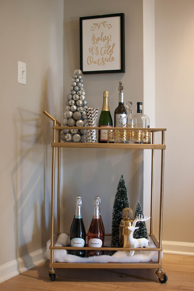 winter bar cart, holiday bar cart, minted art - Winter Bar Cart Ideas with Minted by DC style blogger Alicia Tenise