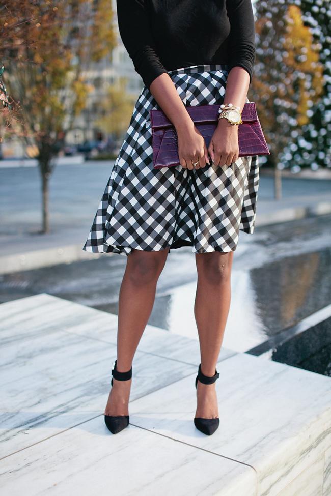 christmas outfit ideas, buffalo plaid check skirt, talbots plaid skirt, dc blogger, arlington fashion blog