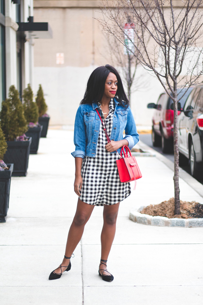madewell courier shirtdress, denim jacket, gingham dress, stuart weitzman gilligan, rebecca minkoff mini mab tote, dc blogger, spring outfit ideas, transition outfit