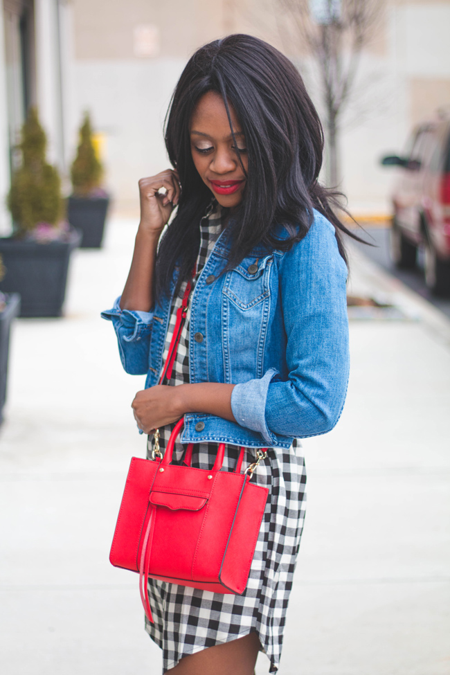 madewell courier shirtdress, denim jacket, gingham dress, rebecca minkoff mini mab tote, dc blogger, spring outfit ideas, transition outfit