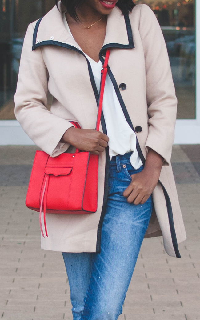 trench coat, transition outfit, rebecca minkoff mini mab, madewell boyfriend jeans, dc blogger