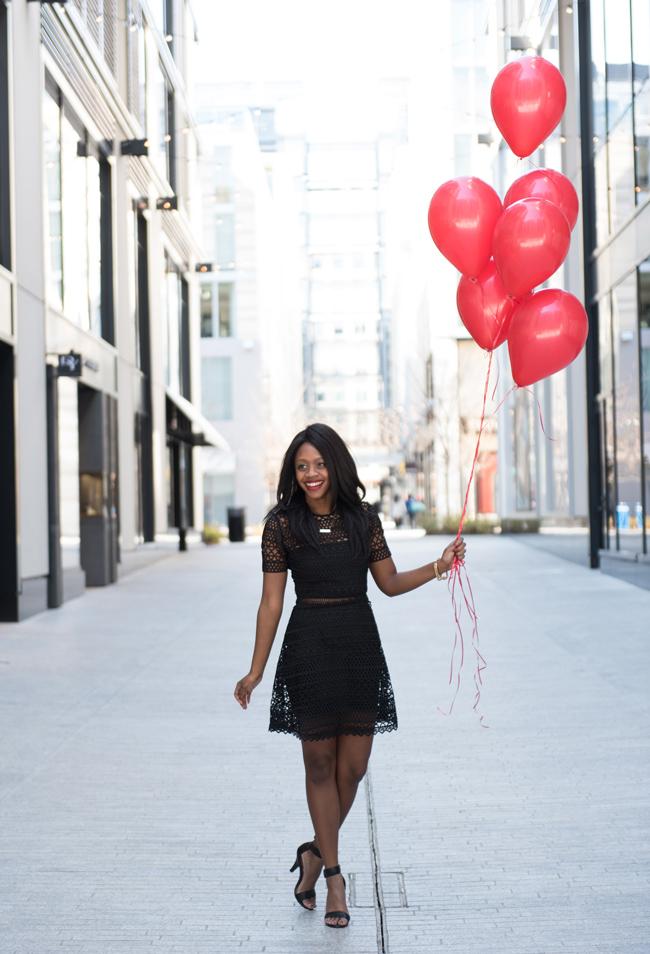 VINCENT CROCHET MINI DRESS KARINA GRIMALDI, lbd, little black dress, dc blogger, birthday blog shoot