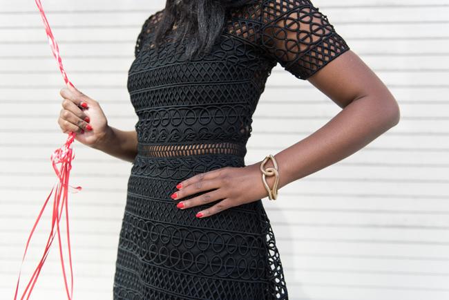 VINCENT CROCHET MINI DRESS KARINA GRIMALDI, lbd, little black dress, dc blogger