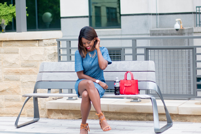 wayf chambray dress, rebecca minkoff mini mac, steve madden lace up heels