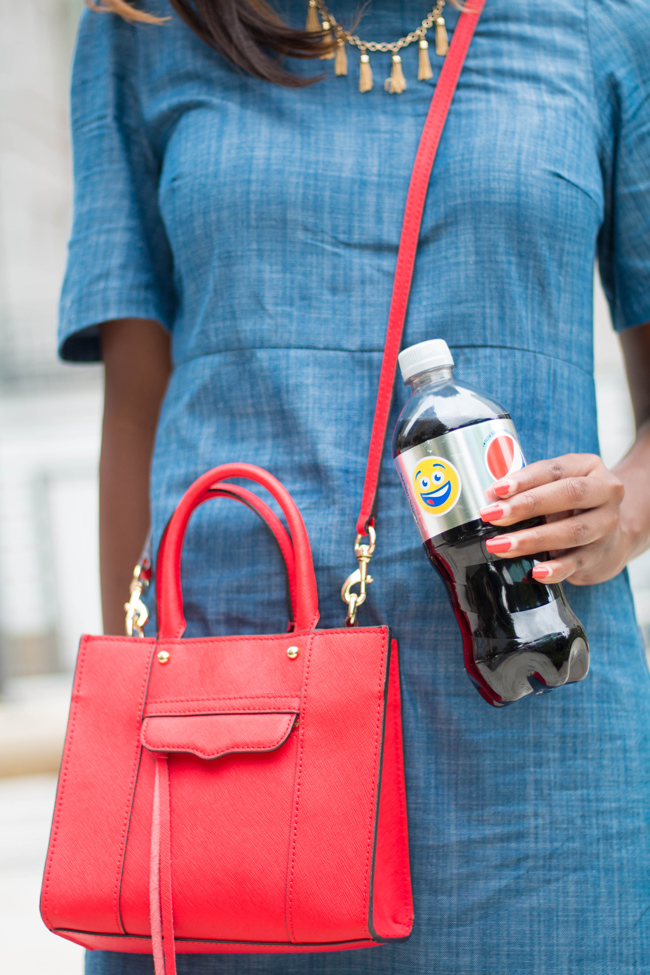 pepsi smile emoji bottle, summer casual outfit ideas, rebecca minkoff crossbody bag