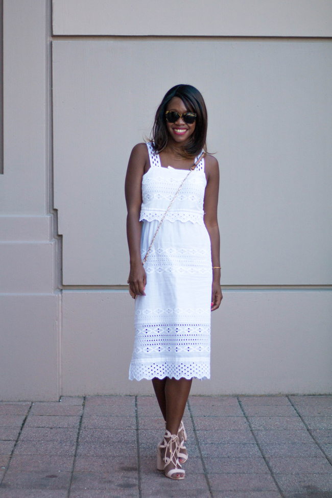 j.crew tiered eyelet midi dress, blush lace up heels, what to wear to afternoon tea